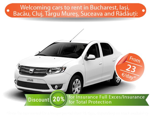 Dacia Logan low price rent in Bucharest Bacau promotion